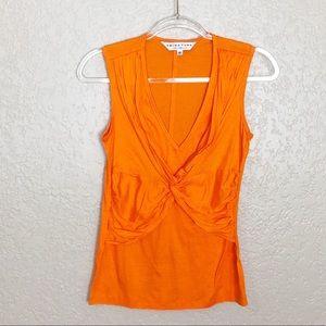 EUC Trina Turk Orange knotted front sleeveless top